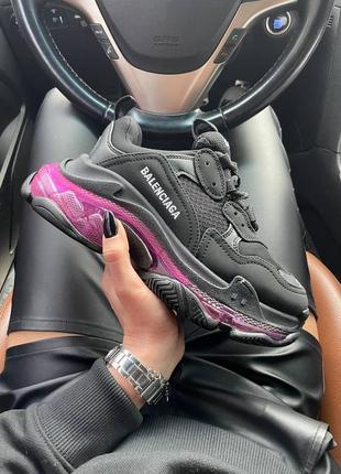 Triples sneaker black neon purple женские кроссовки чёрные/фиолетовые жіночі чорні фіолетові кросівки9 фото