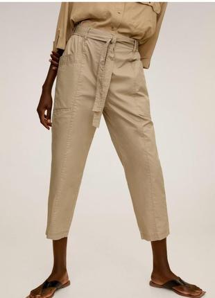 Mango  легкие хлопковые брюки c поясом бежевый маррон