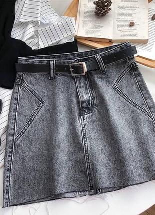 Юбка серая женская с ремнём поясом джинсовая