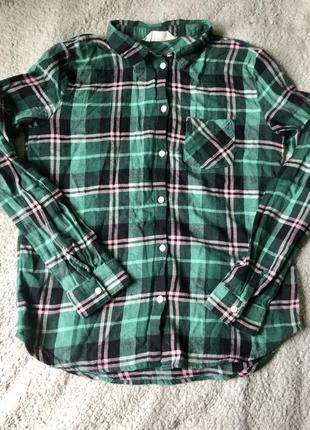 Рубашка 100% хлопок зелёная в клетку стильная трендовая с карманом