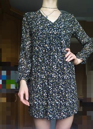 Платье шифон мини в мелкий цветочек
