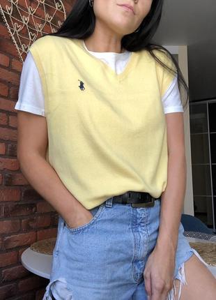 Трендовая oversize жилетка polo ralph lauren нежно-желтого цвета , как новая