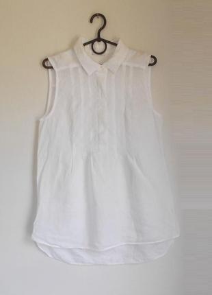 Белая льняная блузка