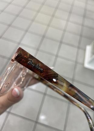 Ray ban женская оправа для очков пластиковая цвета прозрачного пудрового с коричневыми дужками3 фото
