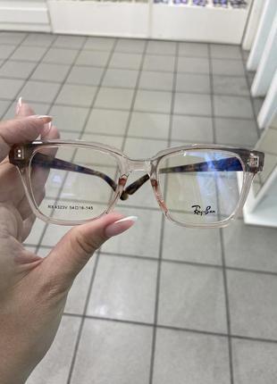 Ray ban женская оправа для очков пластиковая цвета прозрачного пудрового с коричневыми дужками6 фото