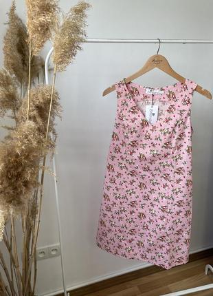 Сарафан льняной новый женский трапеция розовый с цветами скидка ! ликвидация остатков