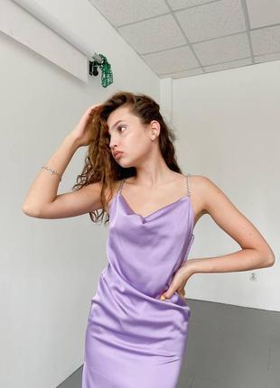 Платье комбинация из шелка армани с необычными брителями цепи