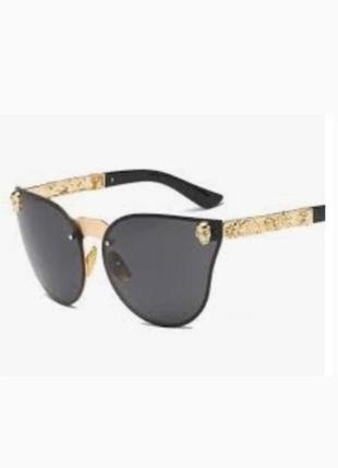 """Цена окончательная!очки """"кошачий глаз"""" зеркальные  черные с золотым"""