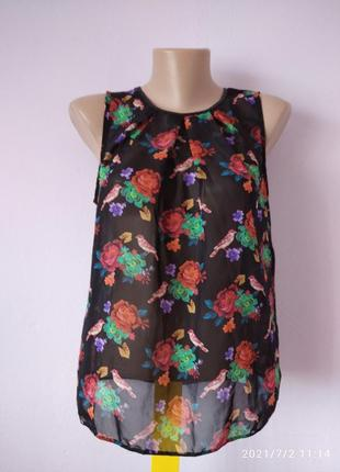 Блуза прозрачная цветочная топ майка туника