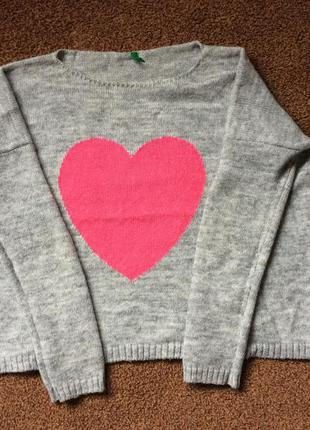 Шерстяной свитер benetton с сердечком