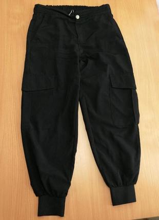 Чёрные брюки джоггеры с карманами на ризинке zara
