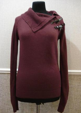 Длинный свитер с воротником кофта с длинным рукавом