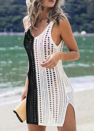 Стильная двухцветная накидка на пляж,размер универсальный.