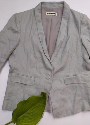 Идеальный как новый пиджак жакет женский серый льняной льон лён натуральная ткань