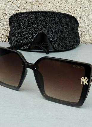 Gucci очки женские солнцезащитные большие коричневые с градиентом модные