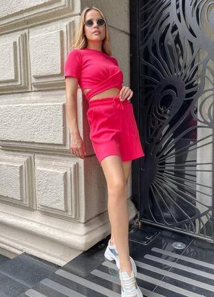 Яркий малиновый летний женский костюм двойка (топ и шорты), 100% хлопок, 4 цвета