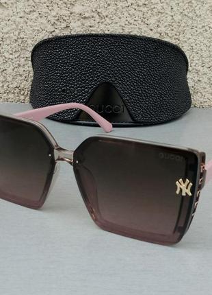 Gucci стильные женские солнцезащитные очки большие линзы коричневый градиент дужки розовые