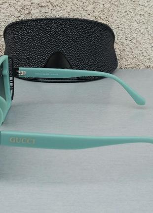 Gucci стильные женские солнцезащитные очки большие линзы чёрный градиент дужки бирюзовые3 фото