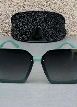 Gucci стильные женские солнцезащитные очки большие линзы чёрный градиент дужки бирюзовые2 фото