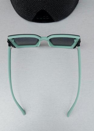 Gucci стильные женские солнцезащитные очки большие линзы чёрный градиент дужки бирюзовые5 фото
