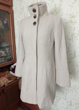 Пальто демисезонное uk14 woolmark blend светлый беж