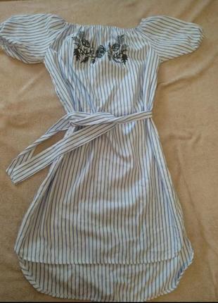 Туніка,платье,сарафан,обємні рукави,спущені плечі,в полоску