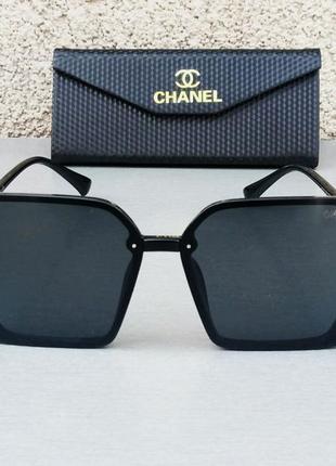 Chanel стильные женские солнцезащитные очки большие черные с золотым логотипом