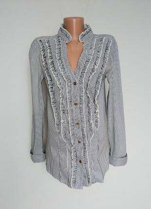 Блуза в полоску с мини рюшами.  ткань стрейч. kaleidoscope 14(42)