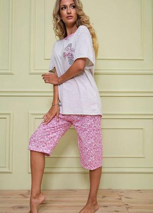 Пижама бриджи и футболка цветочный принт
