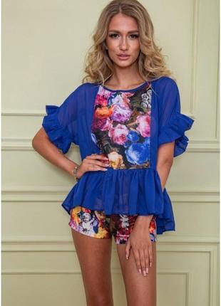 Костюм шорты и блуза цветочный принт