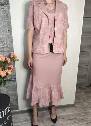 Костюм женский розовый 3-ка с юбка, блузка, пиджак(0639)