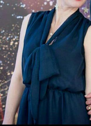 Вечернее нарядное платье великобритания темно-синего цвета