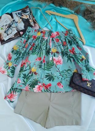 Мега класная хлопковая блуза на плечи в цветочный принт от mango🌼💖🌼