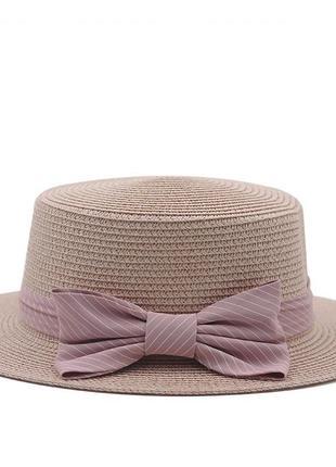 Детская шляпка соломенная розовый с бантом