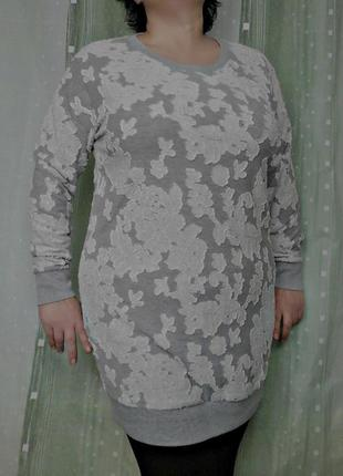 Удлиненный свитшот туника, платье, с рельефными цветами 60% котон