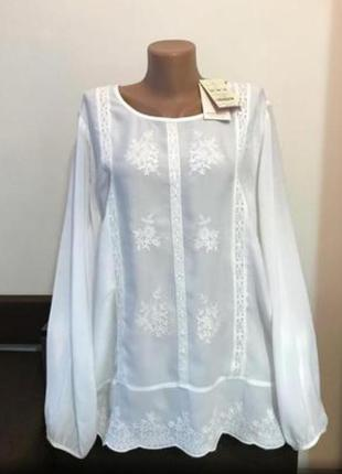 Нова натуральна блузка блуза вишиванка сорочка великого розміру рубашка вышиванка большого размера