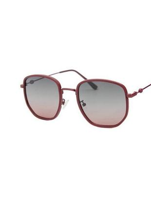 Солнцезащитные очки sumwin polar шестиугольные в бордовой оправе