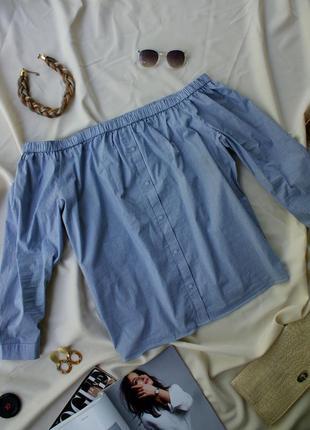 Блуза сорочка на плечі в полоску натуральна великий розмір dorothy perkins