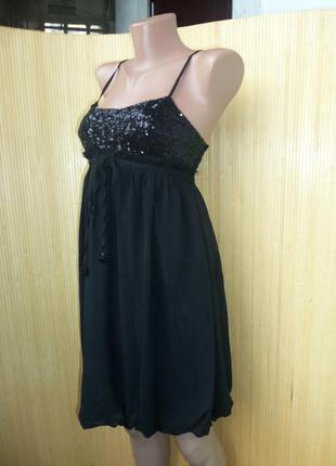 Вечернее / коктейльное чёрное нарядное платье под грудь с пайетками  xs-s