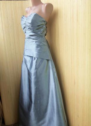 Атласное вечернее/ выпускное длинное нарядное серебристое платье с корсажем s-m