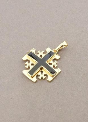 Крестик эмаль (позолота 18к)