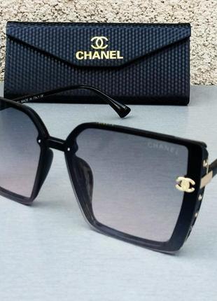 Chanel очки женские солнцезащитные модные большие черные с серо розовым градиентом