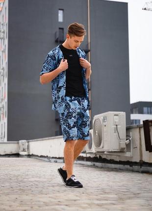 Летний комплект рубашка и шорты mitsuki из льна серо-синий