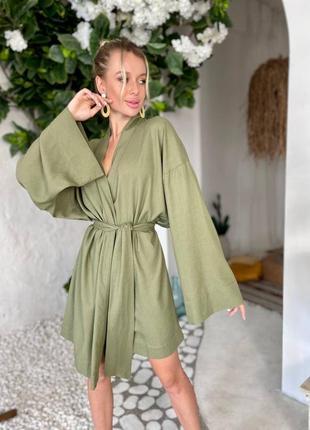 Платье кимоно из льна