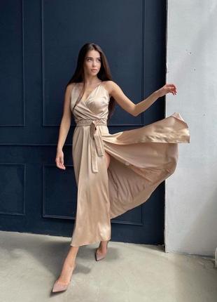 Шелковое платье комбинация миди
