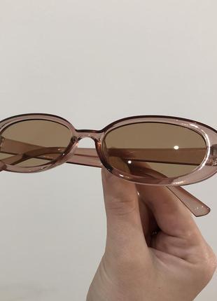 Прозрачные бежевые узкие солнцезащитные солнечные овальные очки, вузькі сонячні прозорі окуляри від сонця