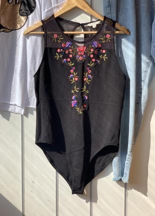 Бодик боди черный с вышивкой цветами с сеточкой прозрачной женский 42