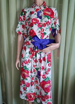 Костюм летний белый с цветочным принтом (англия ), 100% вискоза , uk10
