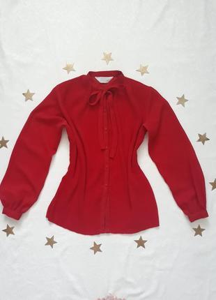 Винтажная блуза, винтаж, шифон, милая, бантик