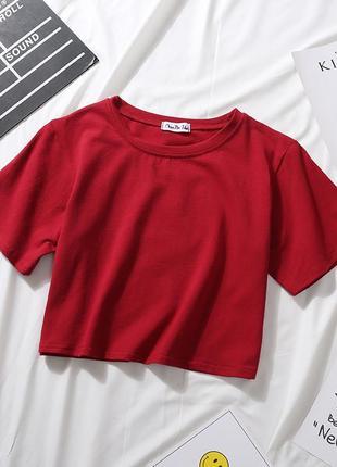 Кроп топ/ топ трикотажный/ черный топ/ спортивный топ/ укороченная футболка/ красный, белый, черный, бежевый3 фото